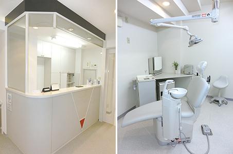 難波歯科_受付と診療室